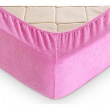"""Махровая простыня на резинке """"Розовый"""""""