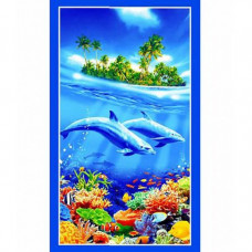 """Вафельное банное полотенце """"Дельфины"""""""