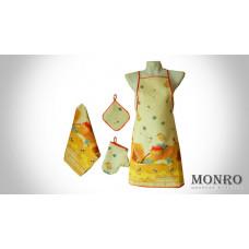 Набор 4 предмета Рогожка (Фартук, рукавичка, прихватка, полотенце) (хлопок 100%) ОПТОМ